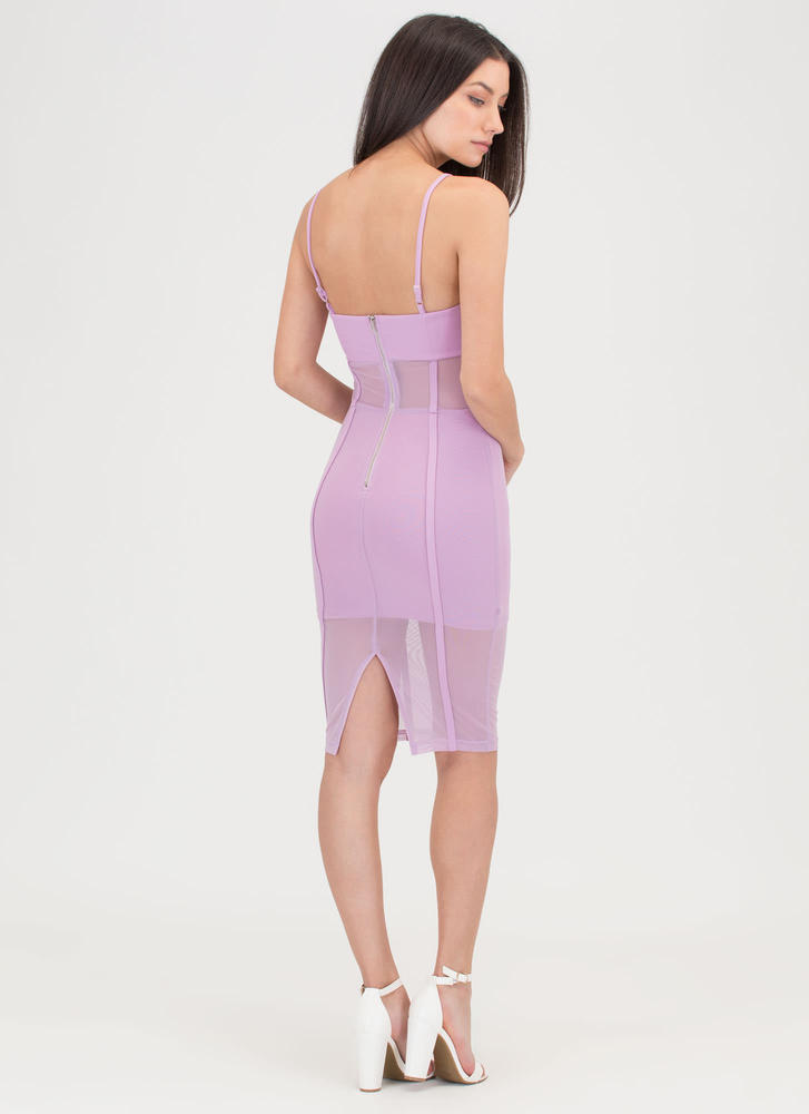 Everything Lines Up Sheer Mesh Dress LILAC