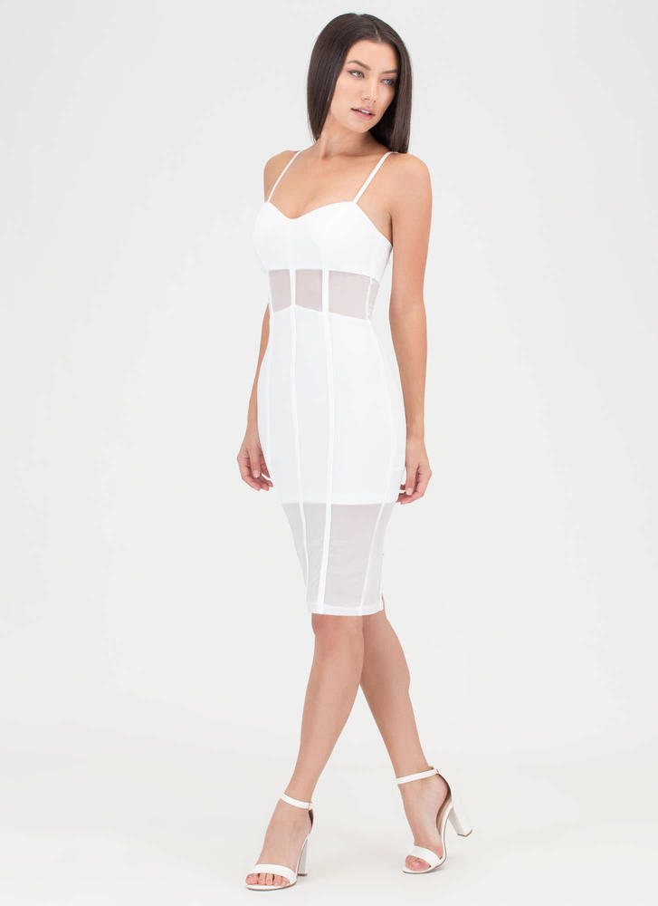 Everything Lines Up Sheer Mesh Dress WHITE