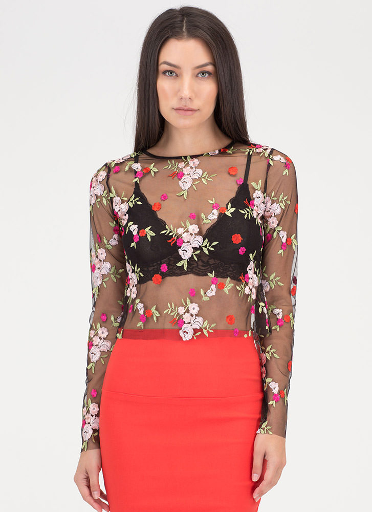 Flower Fields Sheer Embroidered Top BLACK