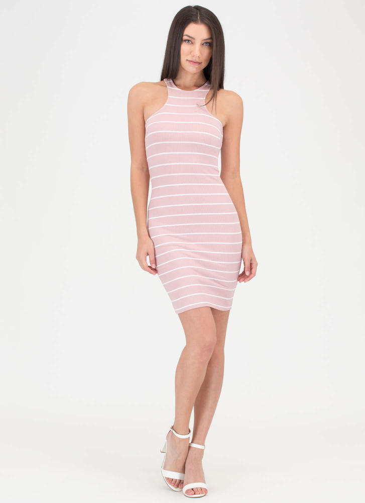 Stripe The Note Laced Minidress PINK