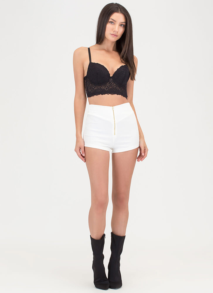 Better Half High-Waisted Zip-Up Shorts IVORY