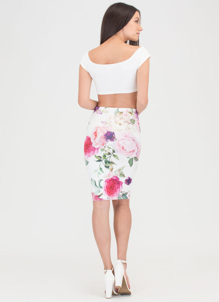 Floral Fragrance Midi Pencil Skirt IVORY