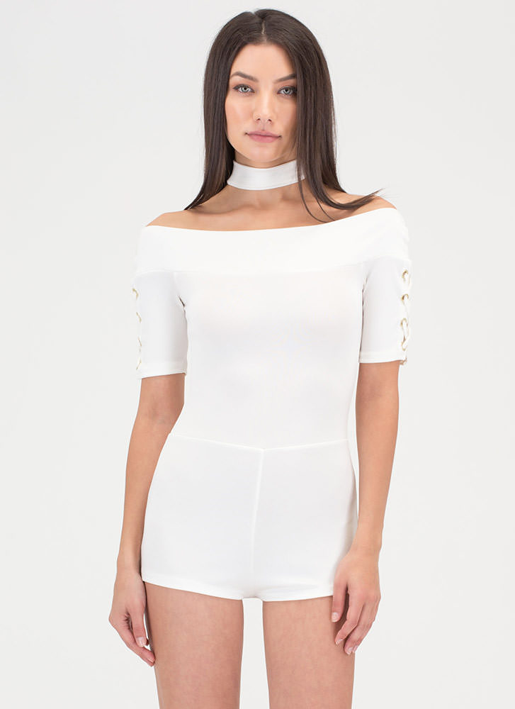 Tied Down Off-Shoulder Romper WHITE