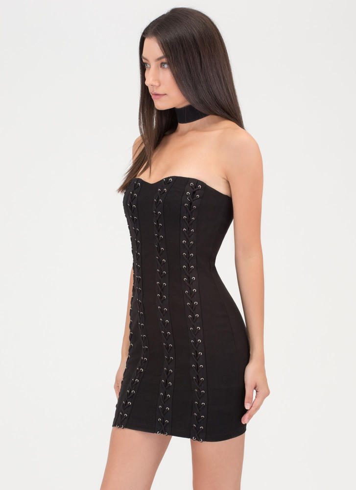 Fit To Be Tied Strapless Minidress BLACK