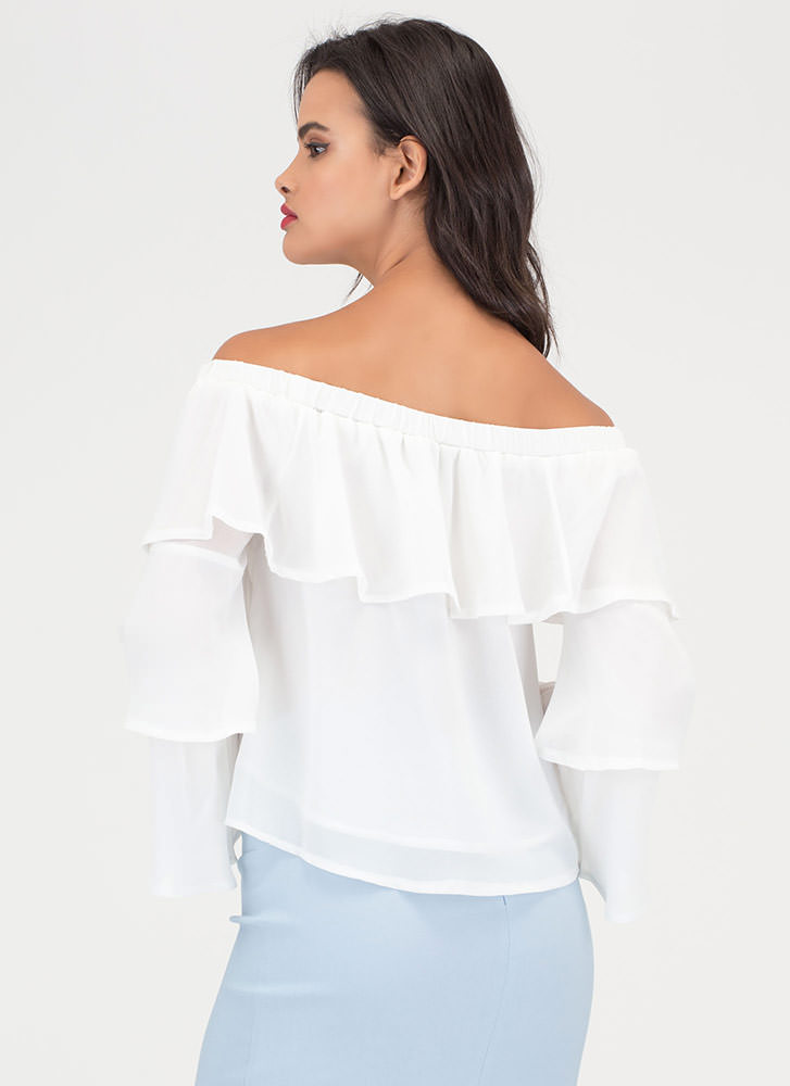 Tiering Up Ruffled Off-Shoulder Blouse OFFWHITE