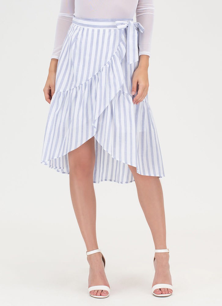 Liner Notes Striped Wrap Skirt BLUE