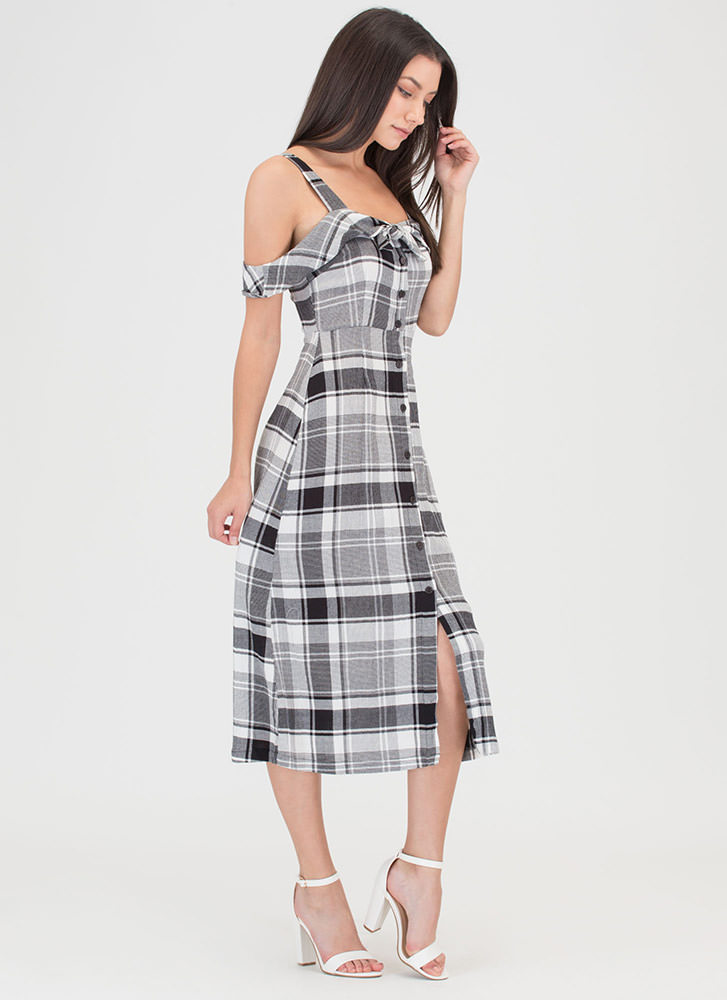 Plaid To Have Met You Button-Up Dress BLACK