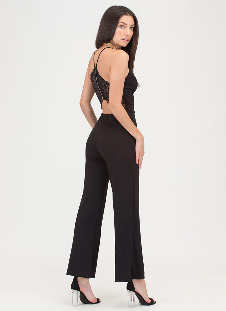 Lace To The Finish Wide Leg Jumpsuit BLACK