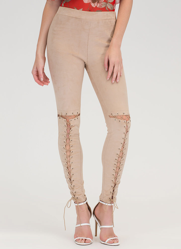 Tied Up Now Faux Suede Leggings NUDE