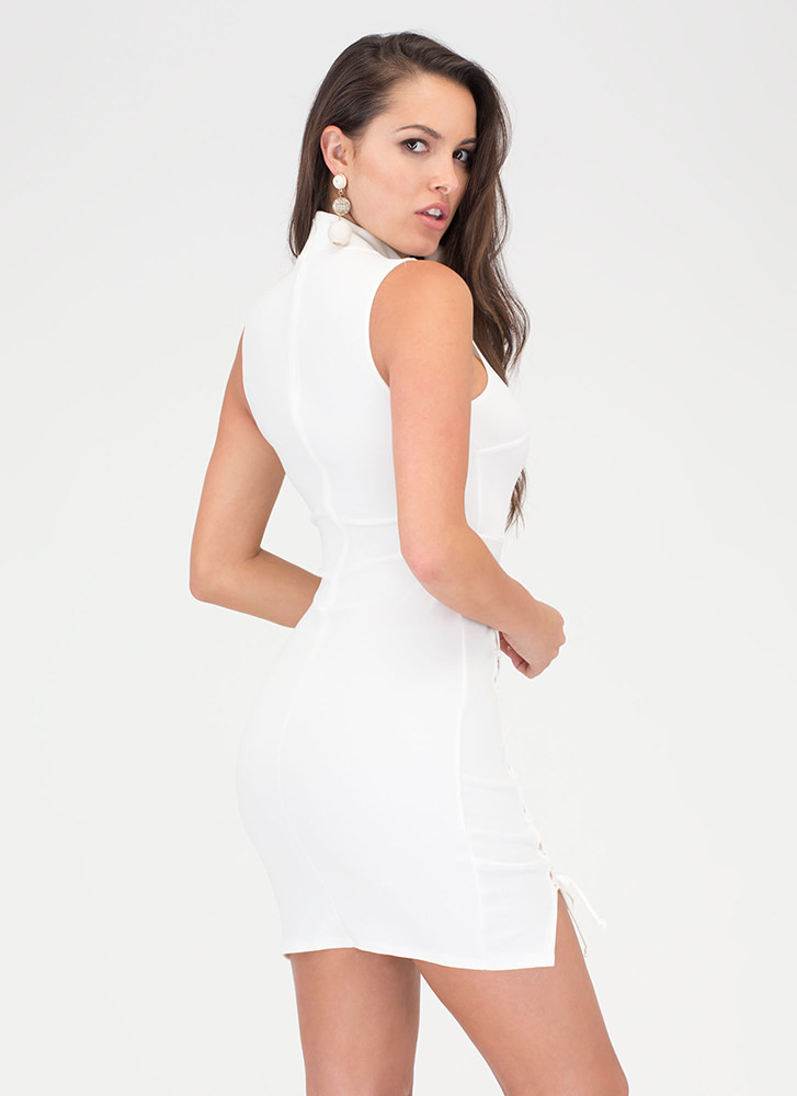 Tie Another Day Double-Slit Minidress WHITE