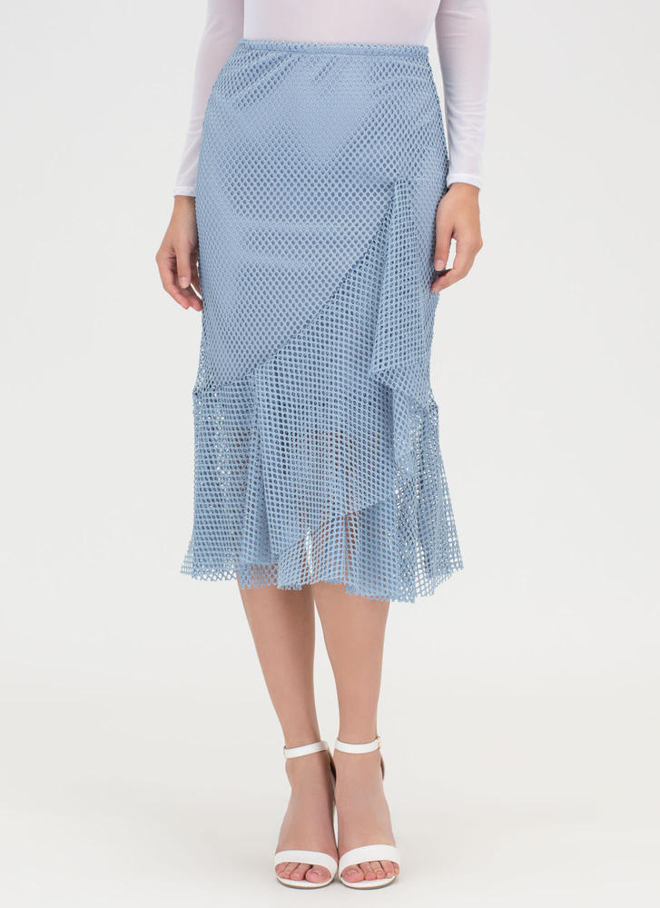 sheer enough ruffled net midi skirt black dustyblue ivory