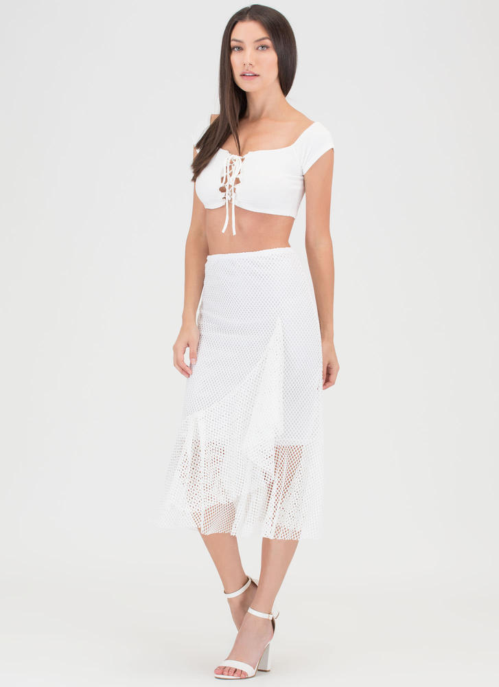 Sheer Enough Ruffled Net Midi Skirt IVORY