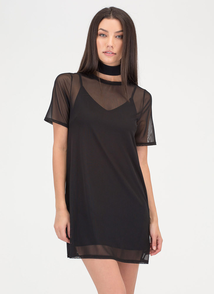 One-Two Punch Sheer Mesh T-Shirt Dress BLACK
