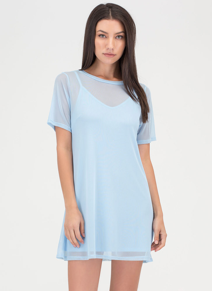 One-Two Punch Sheer Mesh T-Shirt Dress BLUE