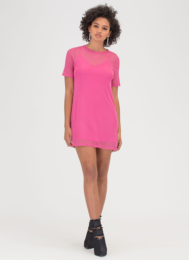 One-Two Punch Sheer Mesh T-Shirt Dress FUCHSIA