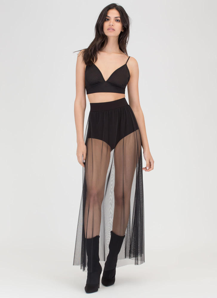 Sheer All About It Two-Piece Maxi Dress BLACK