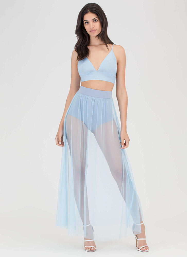 Sheer All About It Two-Piece Maxi Dress BLUE