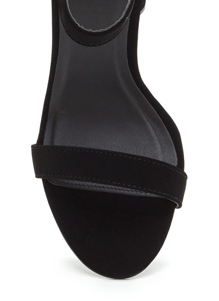 Special Event Chunky Faux Nubuck Heels BLACK