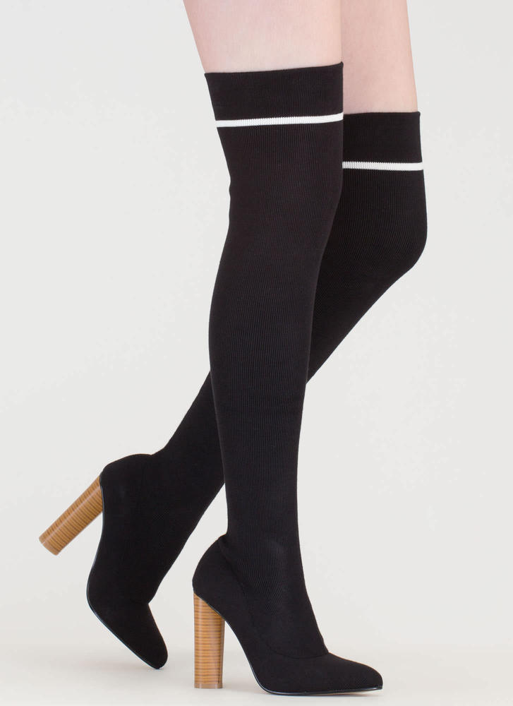 Knit's A Hit Pointy Thigh-High Boots BLACKWHITE