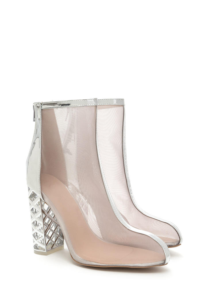 Lattice Start Chunky Metallic Booties SILVER