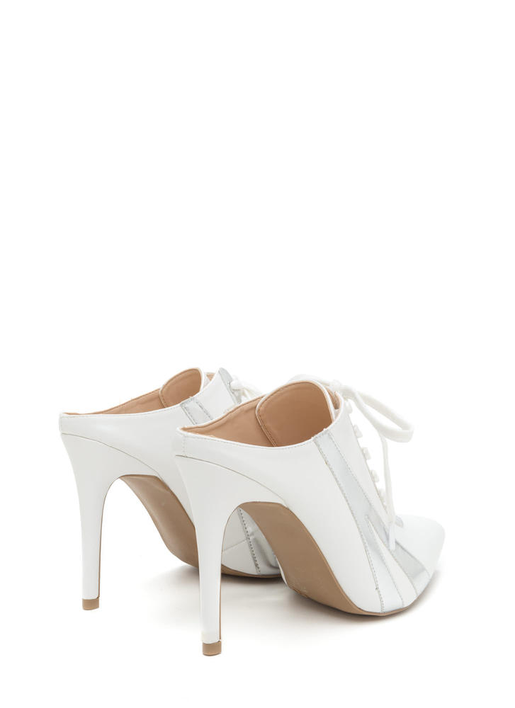 Point Blank Faux Leather Lace-Up Heels WHITE