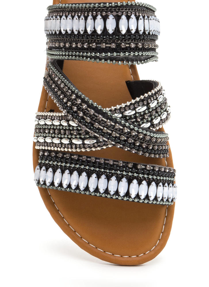 Fest Coast Style Strappy Slide Sandals BLACKMULTI