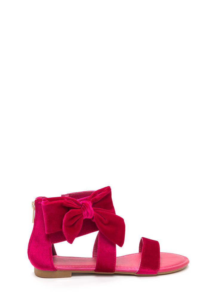 Bow Well Strappy Velvet Sandals HOTPINK