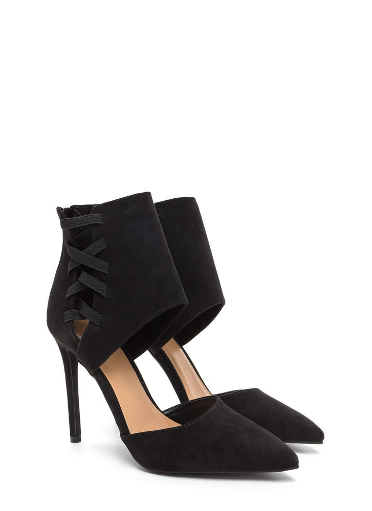 Winning Point Laced Faux Suede Heels BLACK