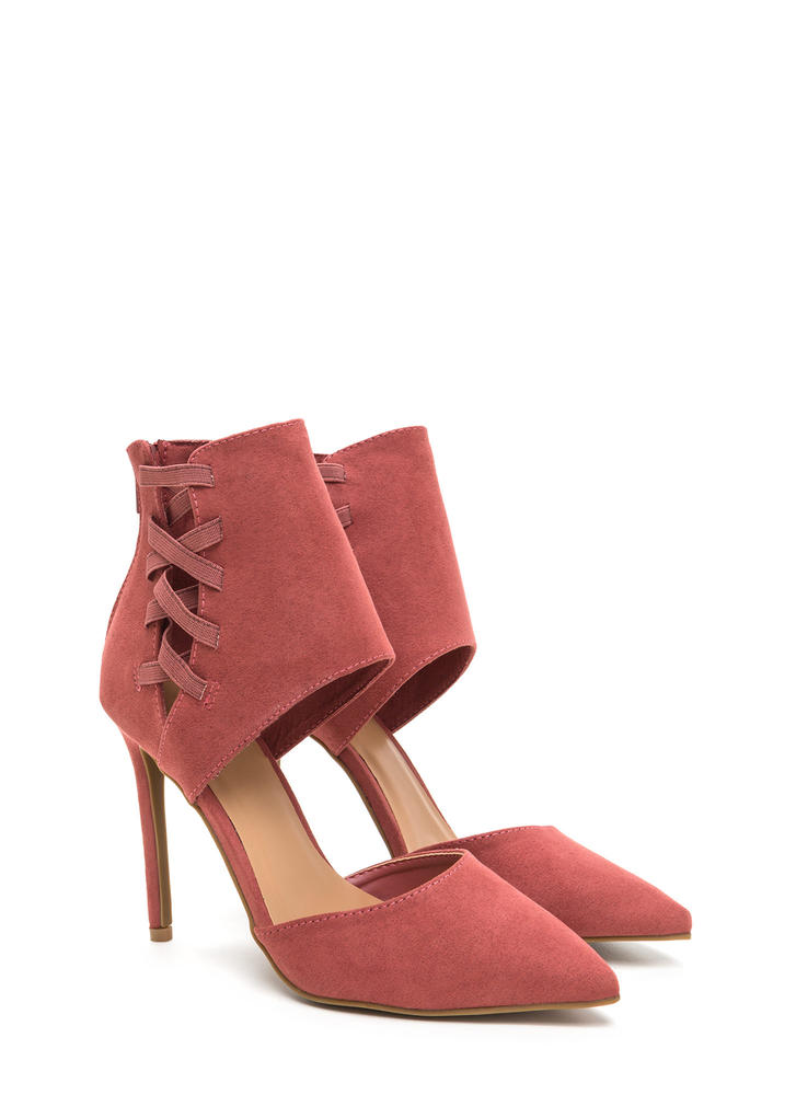 Winning Point Laced Faux Suede Heels DKMAUVE