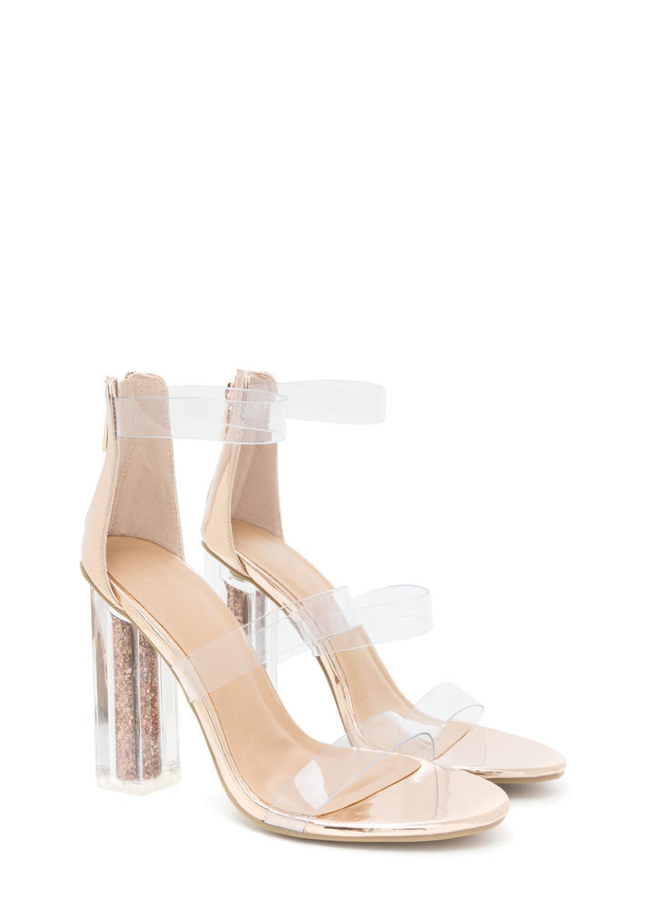Sparkle In Your Step Chunky Clear Heels ROSEGOLD