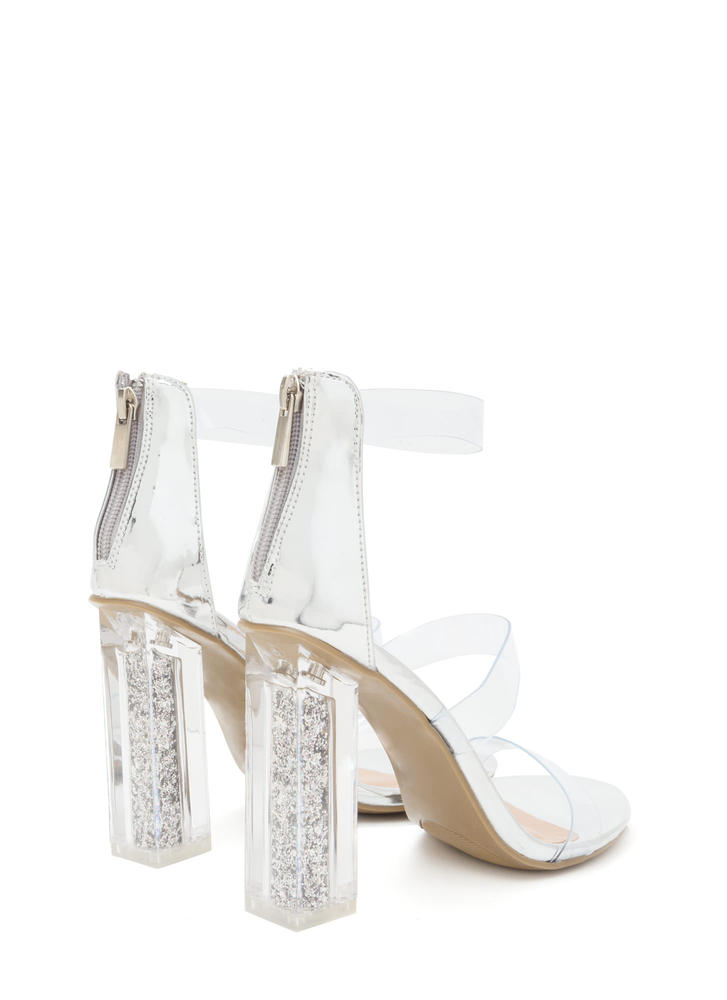 Sparkle In Your Step Chunky Clear Heels SILVER