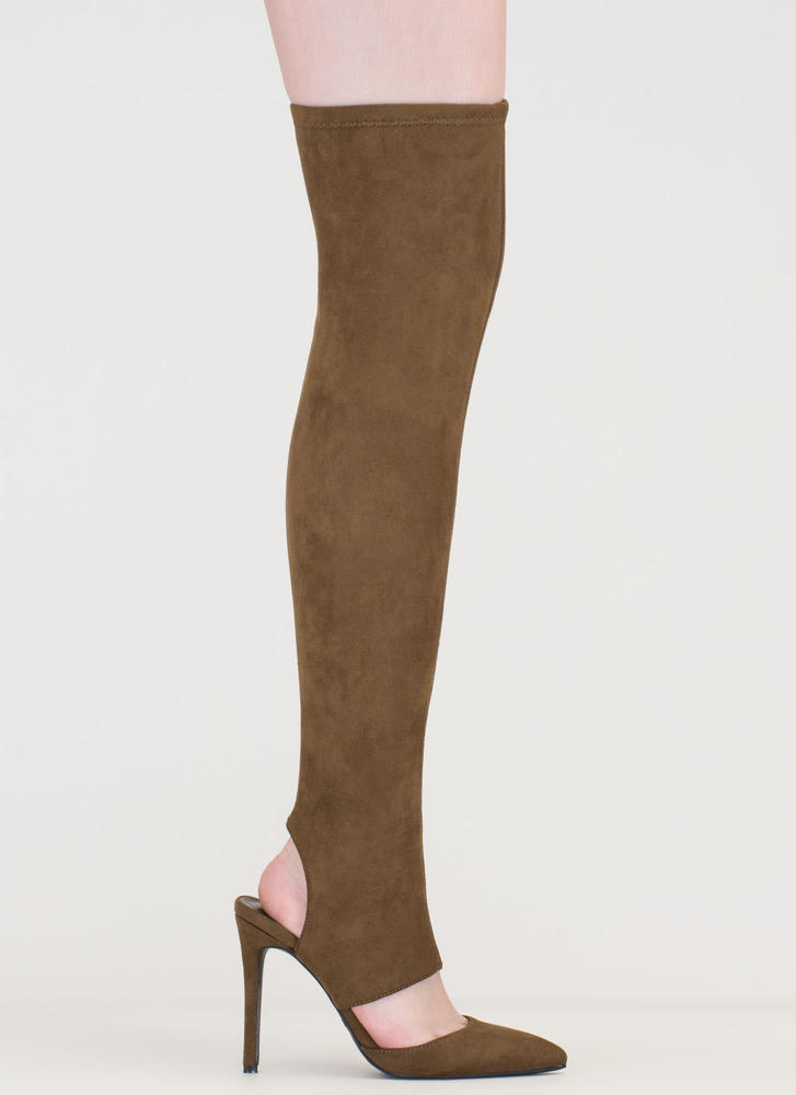 Get Your Point Cut-Out Faux Suede Boots OLIVE
