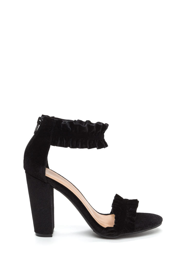 Ready To Ruffle Chunky Velvet Heels BLACK