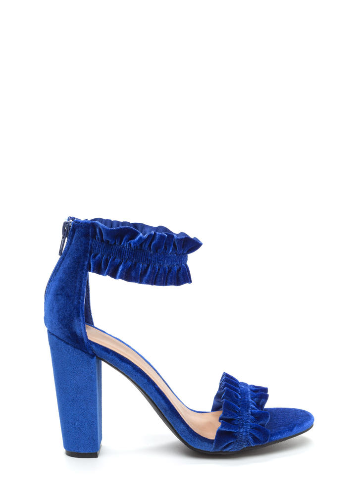 Ready To Ruffle Chunky Velvet Heels BLUE