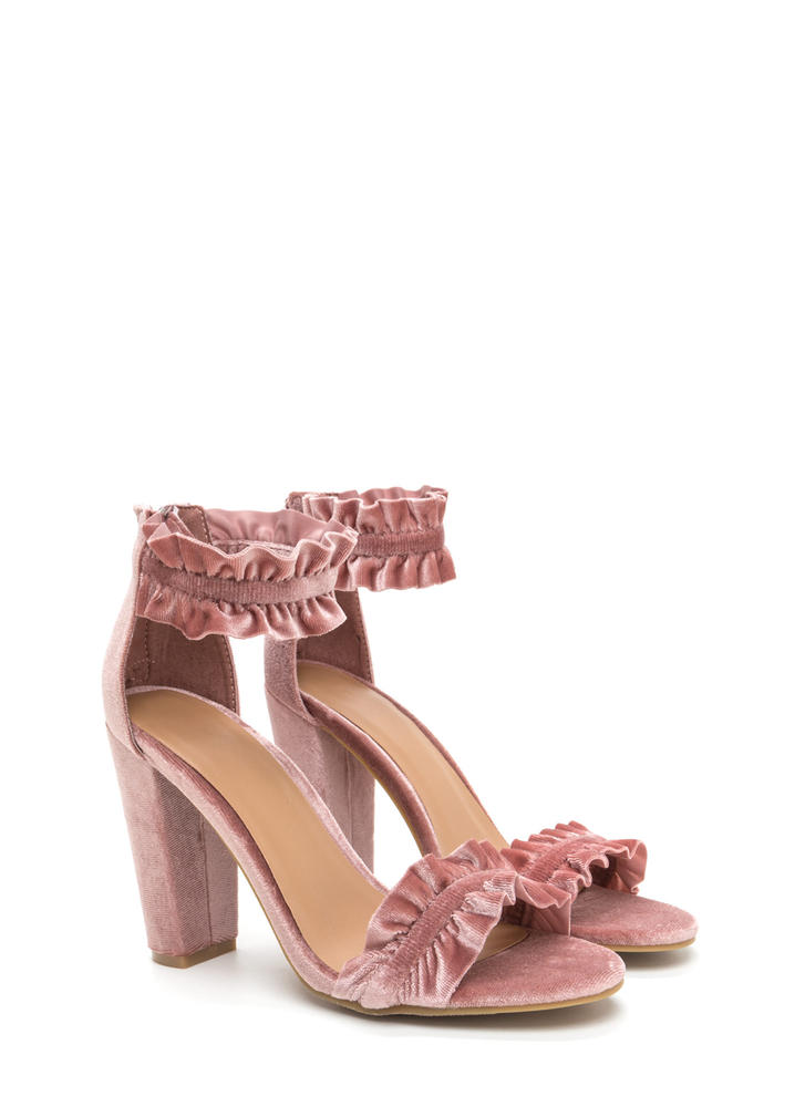 Ready To Ruffle Chunky Velvet Heels BLUSH