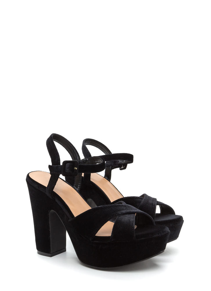 Thick And Thick Chunky Velvet Platforms BLACK