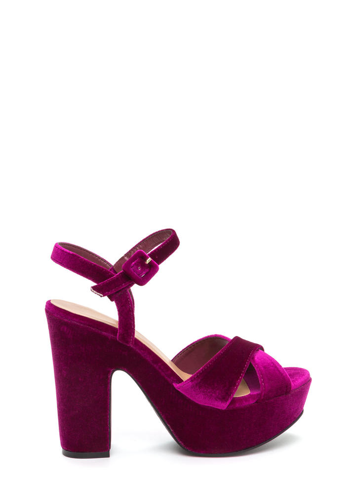 Thick And Thick Chunky Velvet Platforms FUCHSIA
