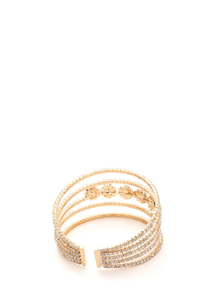 Glamazon Style Faux Jewel Cuff GOLD