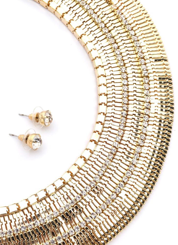 Statement Inspo Glam Collar Necklace Set GOLD