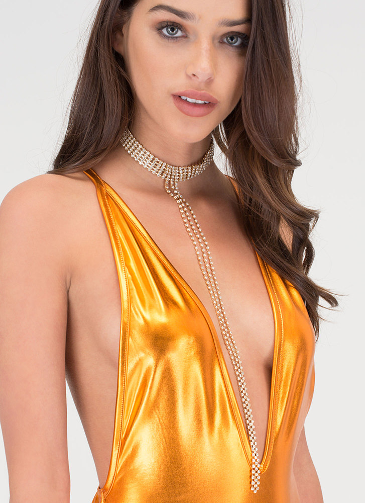 Gleam On Rhinestone Drop Necklace Set GOLD