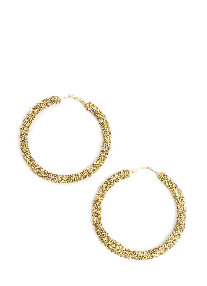 Gem Mine Glitzy Textured Hoop Earrings GOLD