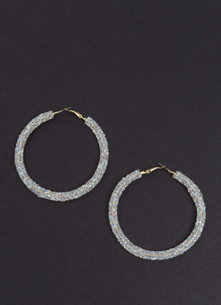 Gem Mine Glitzy Textured Hoop Earrings OPAL