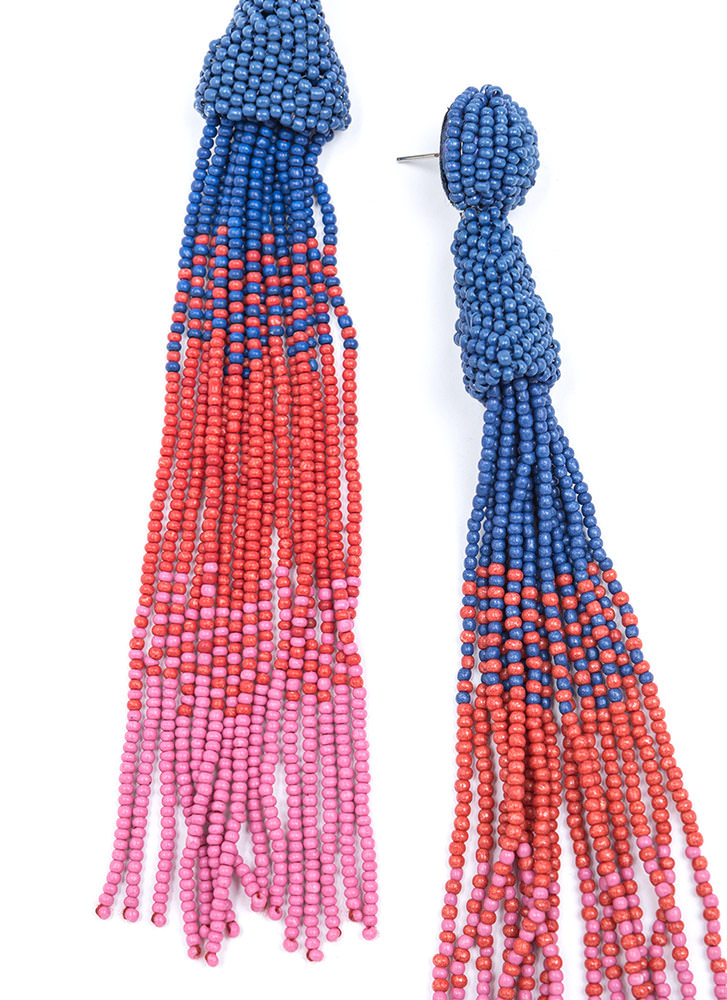 Bead Them All Long Tassel Earrings NAVY