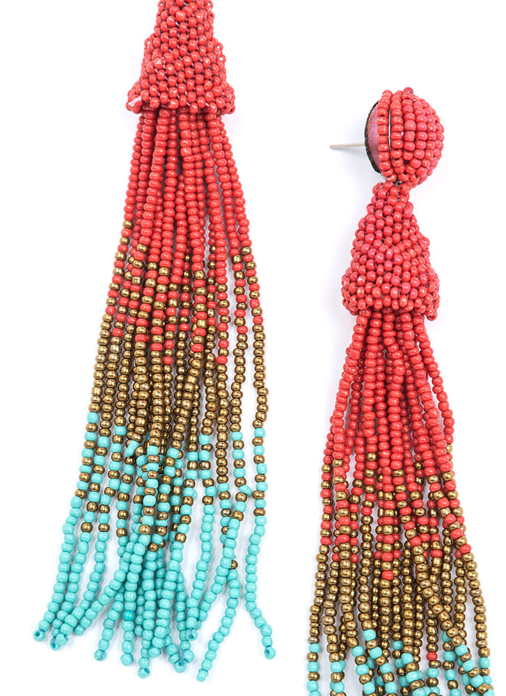 Bead Them All Long Tassel Earrings RED