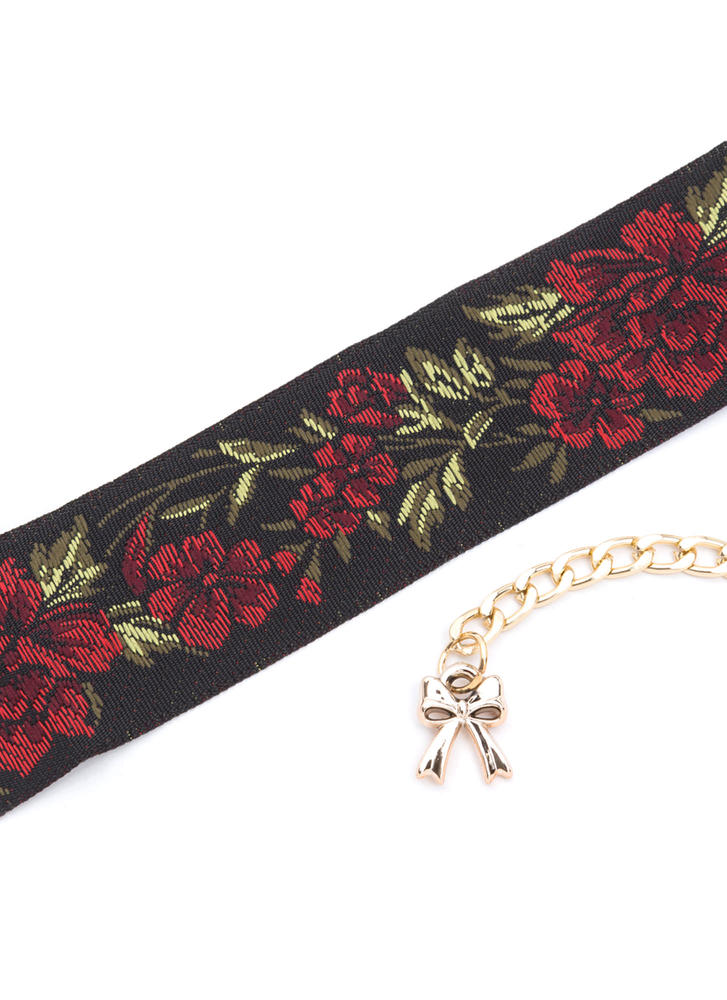Flower Suit Wide Embroidered Choker BLACKRED