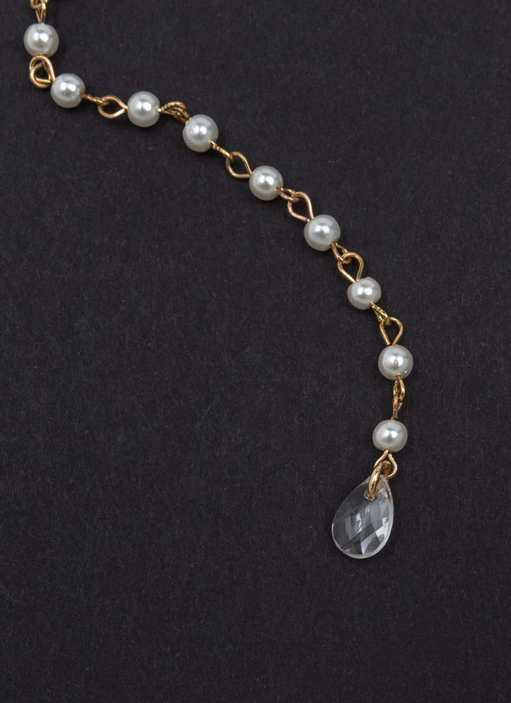 Give It A Pearl Layered Y-Drop Necklace GOLD