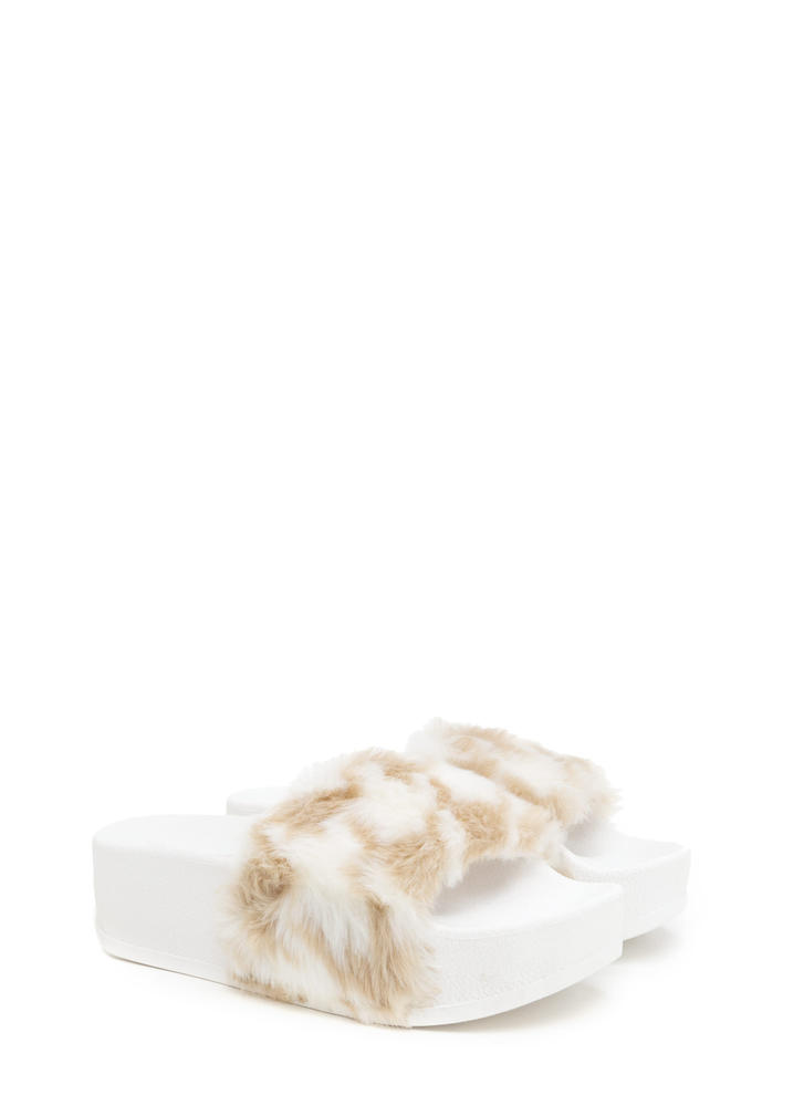 To Great Heights Platform Slide Sandals TANWHITE