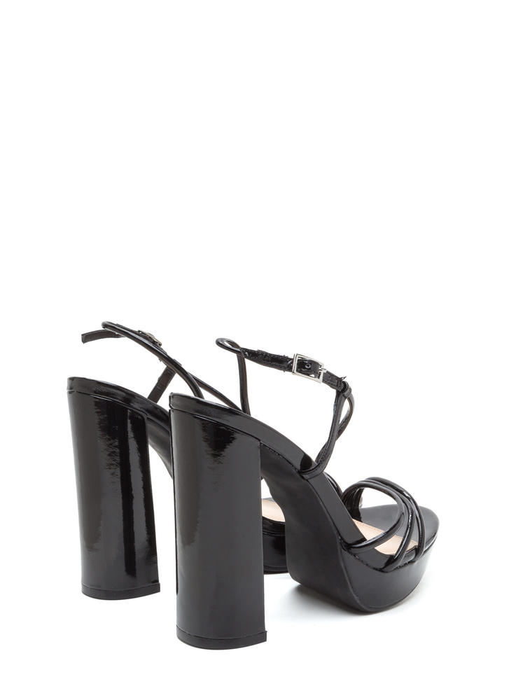 Strappy Mood Chunky Faux Patent Heels BLACK
