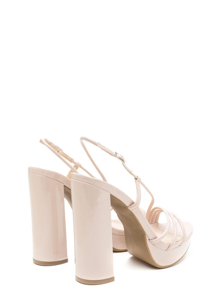 Strappy Mood Chunky Faux Patent Heels NUDE