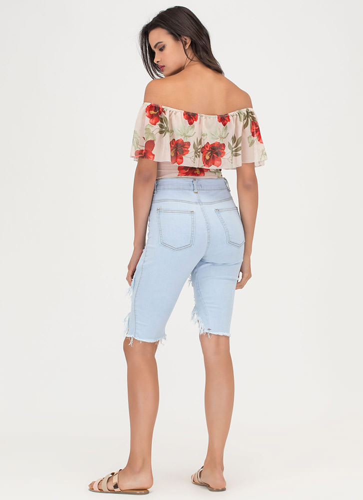 Denim Show Distressed Bermuda Shorts LTBLUE